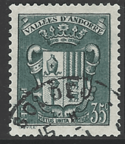 Andorra (French) SG F92, the 1938 35c Coat of Arms, fine used