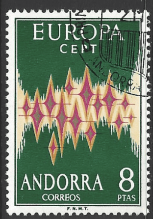 Andorra (Spanish) SG 67, the 1972 Europa issue, fine used