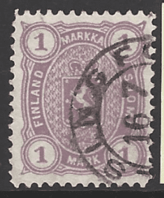 Finland SG 96, the 1881 Lion design 1m perf 12.5x11, fine used.
