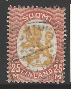 Finland SG 244, the 1927 Lion issue 25m with Swastika watermark, fine used.