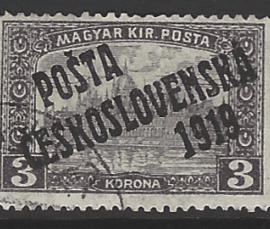 Czechoslovakia SG 153, the 1919 Overprint on Hungarian stamp 3k, fine used stamp