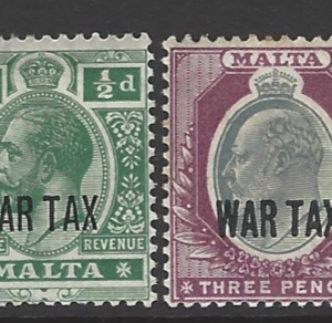 SG 92-3. Mounted Mint. Malta Stamps