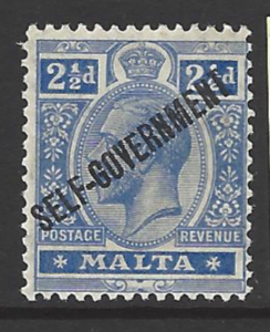SG 107. Mounted Mint. Malta Stamps