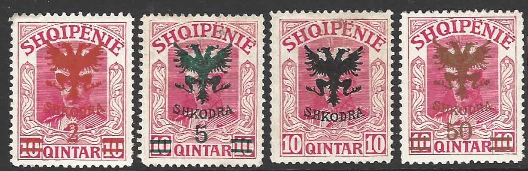 SG 115-117+122. Mounted Mint