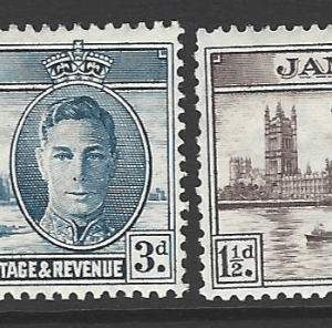 SG 141-142+141a-142a. Mounted Mint. Jamaica stamps. Commonwealth Stamps