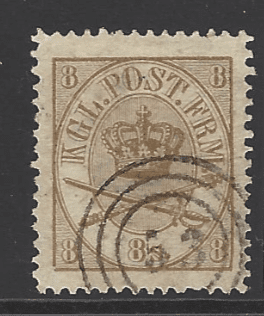 Denmark SG 29, the 1868 Crown and Crossed Swords 8sk, fine used