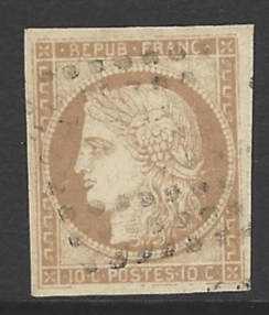 French General Colonies. SG 15, the 1871 Ceres 10c imperfect, fine used.