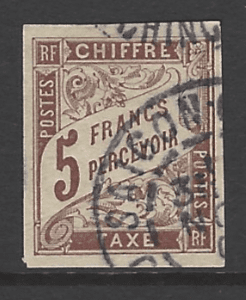 French General Colonies, SG D72, the 1884 Postage Due 5 francs, fine used