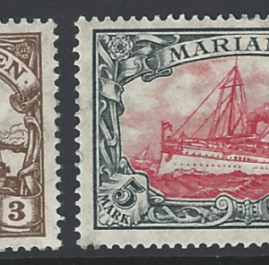 Mariana Islands, SG 26-27. German Colony Stamps