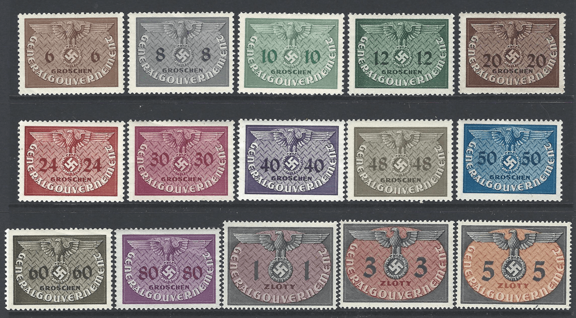 General Government, SG 0392-406. Unmounted Mint.German Occupations stamps