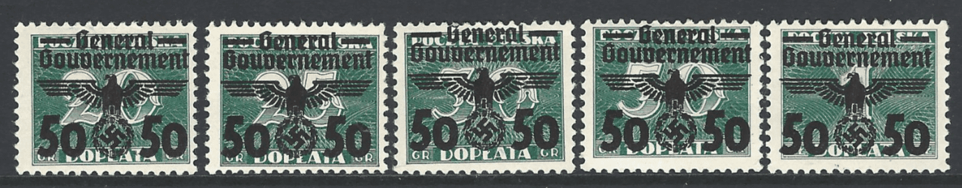 General Government. SG 391a-e. Mounted Mint.