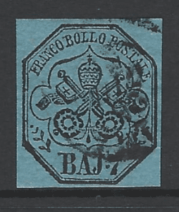 Papal States SG 25. Italian States Stamps. Europe Stamps. Robstine Extra Stamp Dealer
