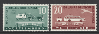 SG FW49-50. Wurttemberg. Mounted Mint. German stamps