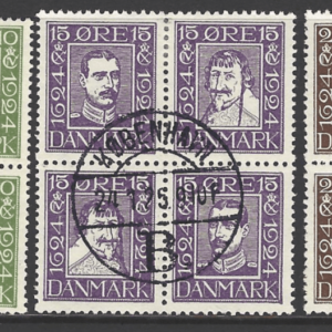 SG 218-23 A+B in 3 Blocks, Denmark Stamps