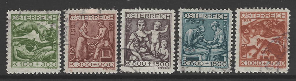 Austria SG 563-567, the 1924 Artists' Charity Fund set, fine used