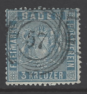 Baden 14, Prussian Blue. German States Stamps