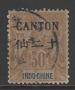 Canton SG 26, French colonies stamps