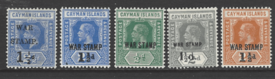 SG 54+56-59. Mounted Mint. Cayman Island Stamps