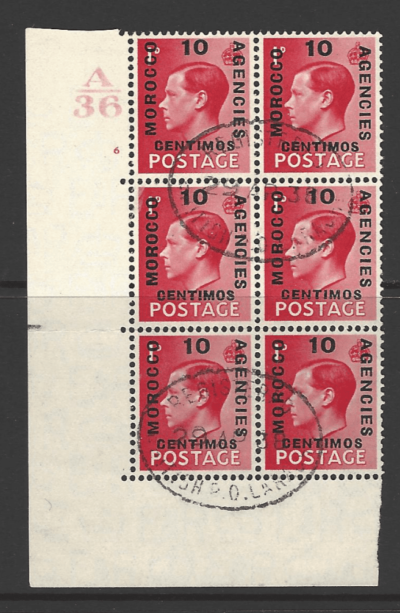 SG 161 x 4 + 161a x 2 with control number. Morocco Agencies Stamps