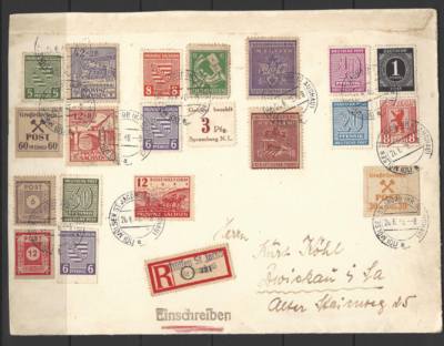 Cover with various zones + local issues. German Locals Stamps