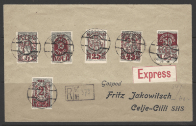 SG 163a-f on cover, Yugoslavia Stamps
