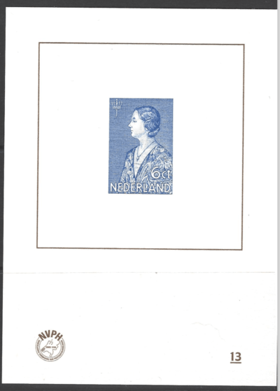 NVPH Catalogue, Blue Print Number 13, Unmounted Mint, Netherland Stamp