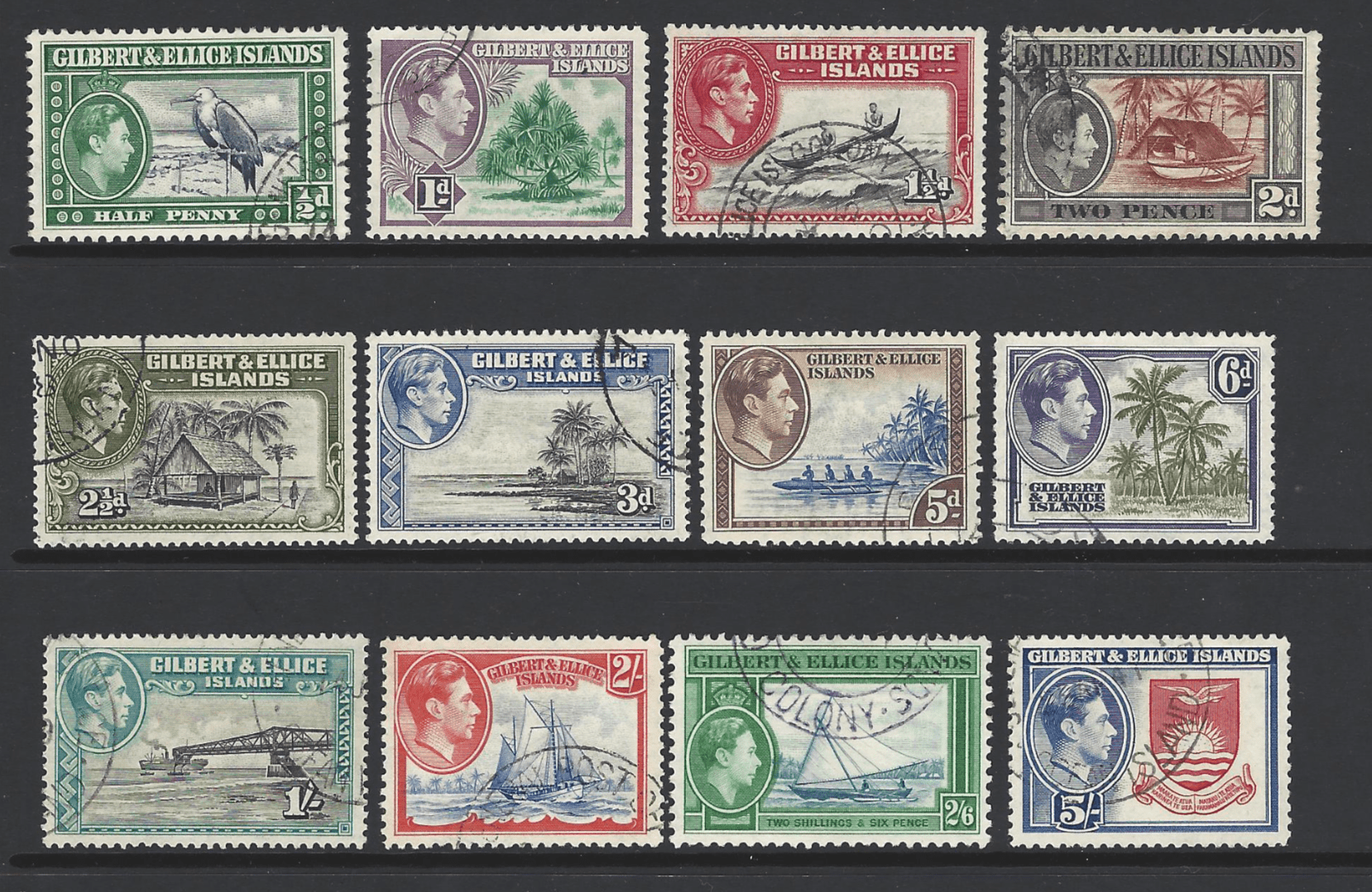 SG 43-54, Gilbert and Ellice Islands Stamps