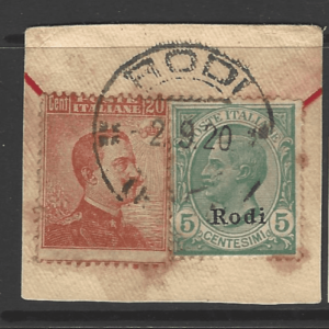 Dodecanese: Rodi SG 4J + 9J on Piece. Some rust