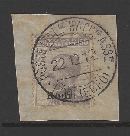Dodecanese: Rodi SG 13J on Piece. Italian Colonies Stamps