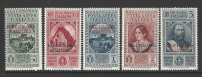 Dodecanese SG 99-103. Mounted Mint with gum toning. Italian Colonies Stamps