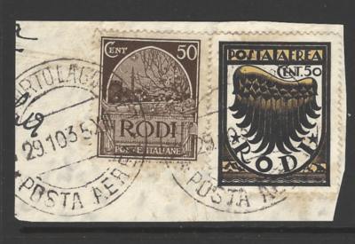 Dodecanese SG 22B + 124 on piece. Italian Colonies Stamps