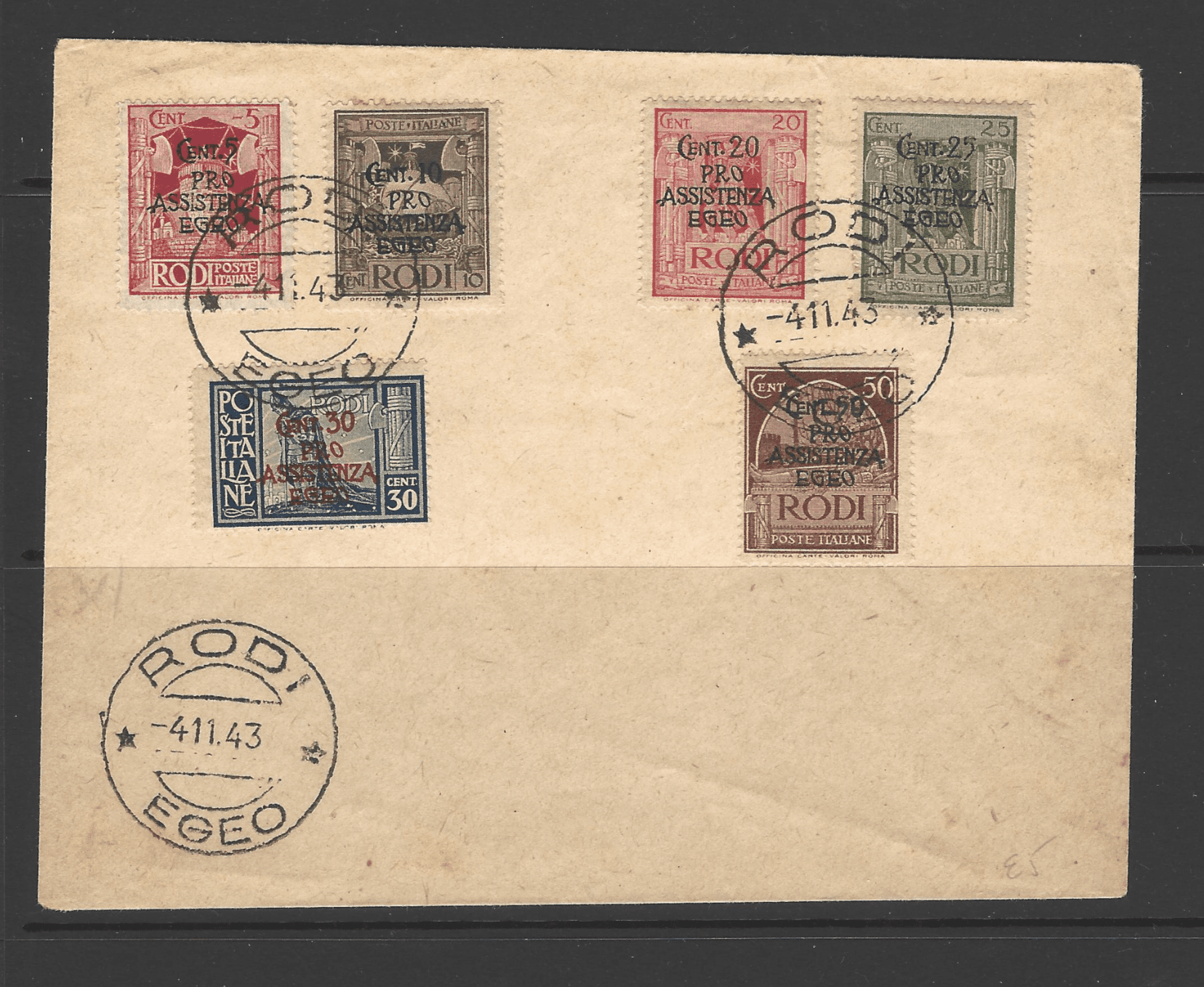 SG Dodecanese 214-219 on Cover, Italian Colonies Stamps