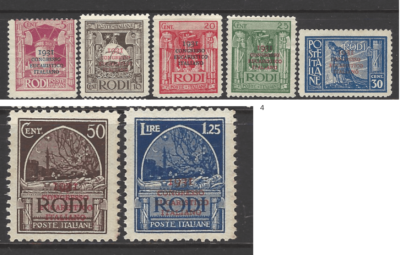 Dodecanese SG 56-62, Italian Colonies Stamps. 56-60 No Gum. 61-62 Unmounted.