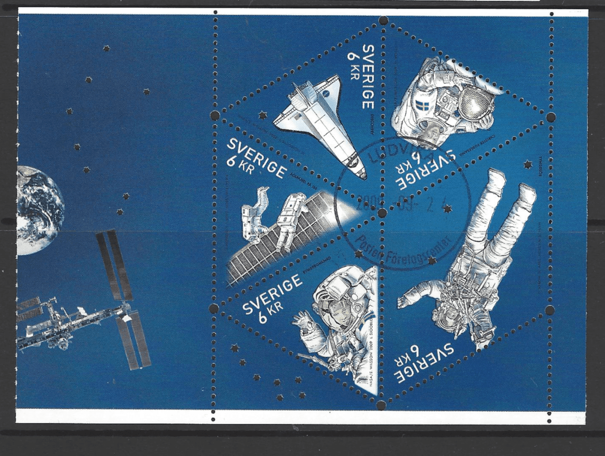 SG 2627-31, Booklet Pane, Sweden Stamps, Space Stamps