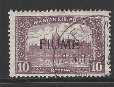 Fiume SG 20, the 1918-9 10k Hungarian stamp overprinted, fine used.