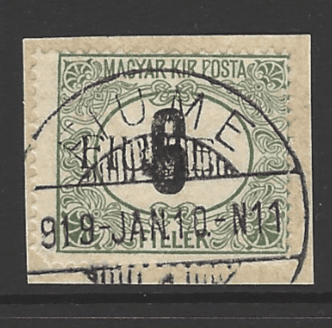 Fiume SG D29, the 1918 Postage Due 6f, fine used on piece.