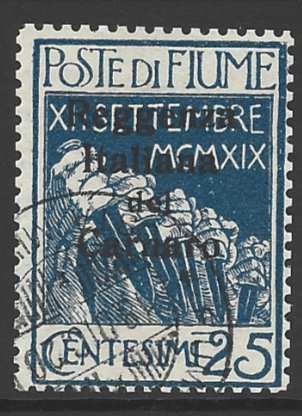 Fiume SG 154b, the 1920 Overprint on Military Post 25c with black overprint, fine used.