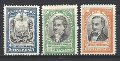 SG 110-112, Mounted Mint, Bolivia Stamps