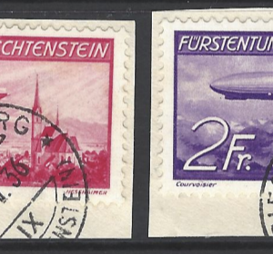 SG 151-2 on piece. Liechtenstein Stamps