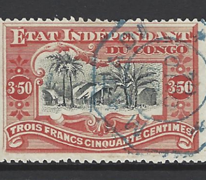 Belgian Congo SG 28, the 1898 Congo Village 3f50, fine used.