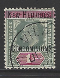 SG 9. One Nibbled Perf. New Hebrides Stamp