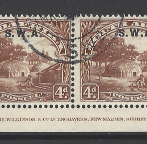 SG 62. Pair. South West Africa Stamps
