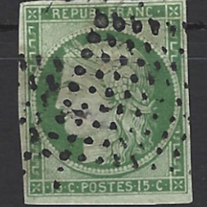 France SG 4, the 1850 Ceres 15c green on bluish green, fine used 4 margin copy. Fine Used
