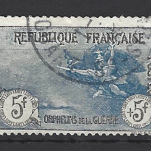 France SG 377, the 5f + 5f value of the 1917-9 War Orphans set, fine used.