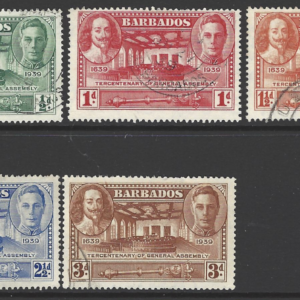 Barbados 1939 Tercentenary of General Assembley, Set SG 257-61