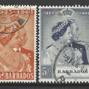 SG 265-6, Barbados, 1948 Royal Silver Wedding
