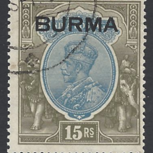 Burma SG17 1937 15r blue and olive Fine Used