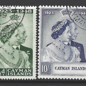 Cayman Islands SG 129-130, Royal Silver Wedding, King George VI, Fine Used