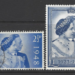 Great Britain SG 493-494, Royal Silver Wedding, King George VI, Fine Used