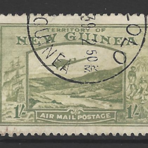 New Guinea 1939 King George VI 1/- Pale blue-green SG 221, Fine Used